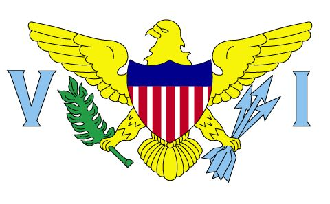 U.S. Virgin Islands Flag~The current flag of the U.S. Virgin Islands was officially adopted in 1921. As an unincorporated territory of the United States, the island's flag features parts of the U.S. seal. One eagle claw holds three arrows, representative of the three major islands, while the other claw holds an olive branch.