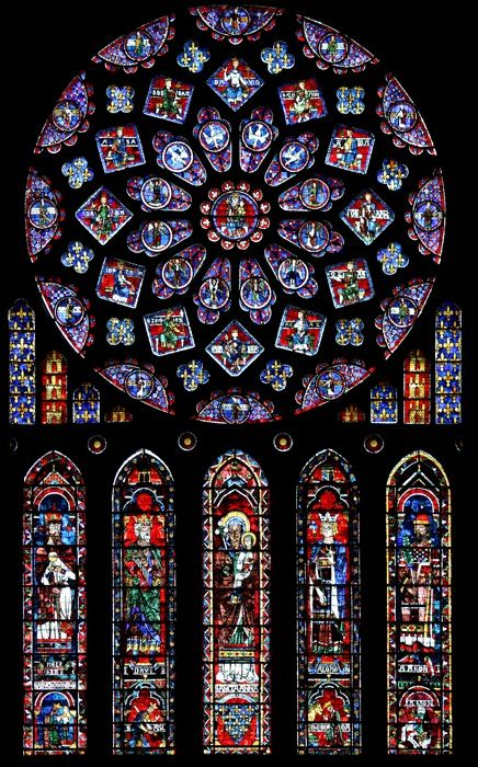 Northern rose window of Chartres cathedral. The rose depicts the Glorification of the Virgin Mary, surrounded by angels, twelve kings of Juda (David, Solomon, Abijam, Jehoshaphat, Uzziah, Ahaz, Manasseh, Hezechiah, Jehoiakim, Jehoram, Asa et Rehoboam) and the twelve lesser prophets (Hosea, Amos, Jonah, Nahum, Zephaniah, Zechariah, Malachi, Haggai, Habakkuk, Micah, Obadiah and Joel). Below, the arms of France and Castile (the window was offered by Blanche of Castile). The five lancets…