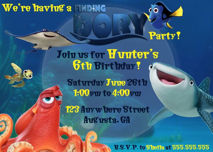 Finding Dory Birthday Party Invitation/ Child's Party invitation/ Invitation Inspired by Finding Dory Movie