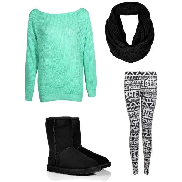 Cute winter outfit! Mint sweater tribal leggings black uggs and scarf.. so simple!
