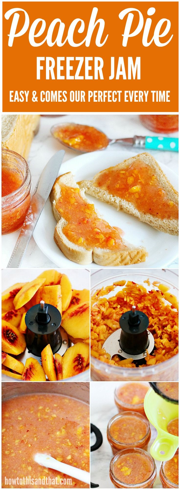 Easy , quick and no canning involved!  Enjoy peach jam all winter long with this freezer jam recipe.