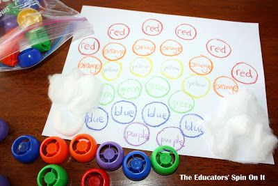 """The Educators' Spin On It: Learning to Read Color Words with the RAINBOW! ***Learn to read color words with this bright colored, eco-friendly, inexpensive and FUN rainbow learning activity. Geared for toddlers, prescholers and kindergarteners. PLUS an entire blog hop of rainbow activities. YOU CAN""""T MISS THIS ONE!"""