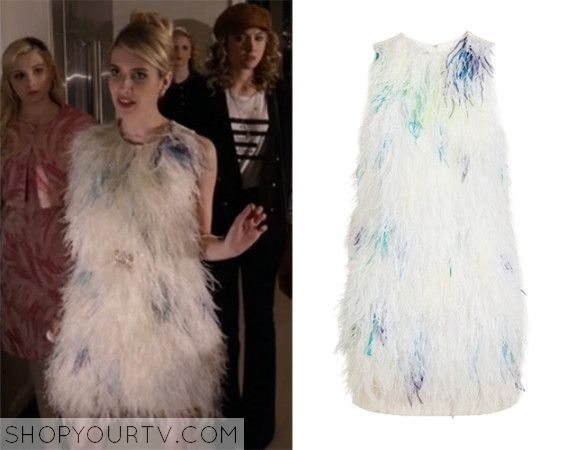 Chanel Oberlin (Emma Roberts) wears this white sleeveless dress with feathers in this weeks episode of Scream Queens.