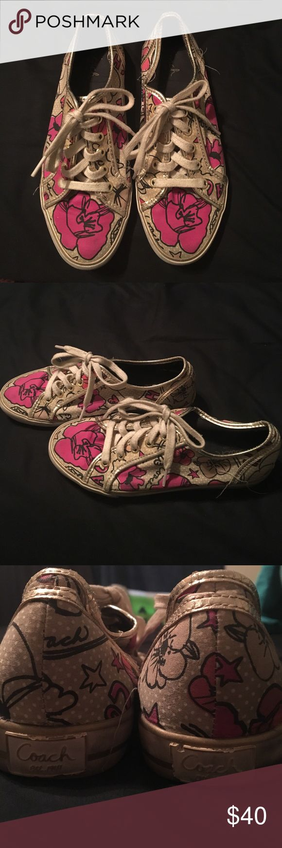 Coach Poppy tennis shoes Well loved Coach Poppy tennis shoes. Could use a good cleaning, see pictures for wear Coach Shoes Sneakers
