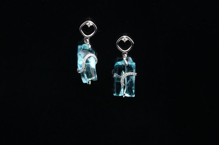 Organic Shape Aquamarine & Diamond Earrings