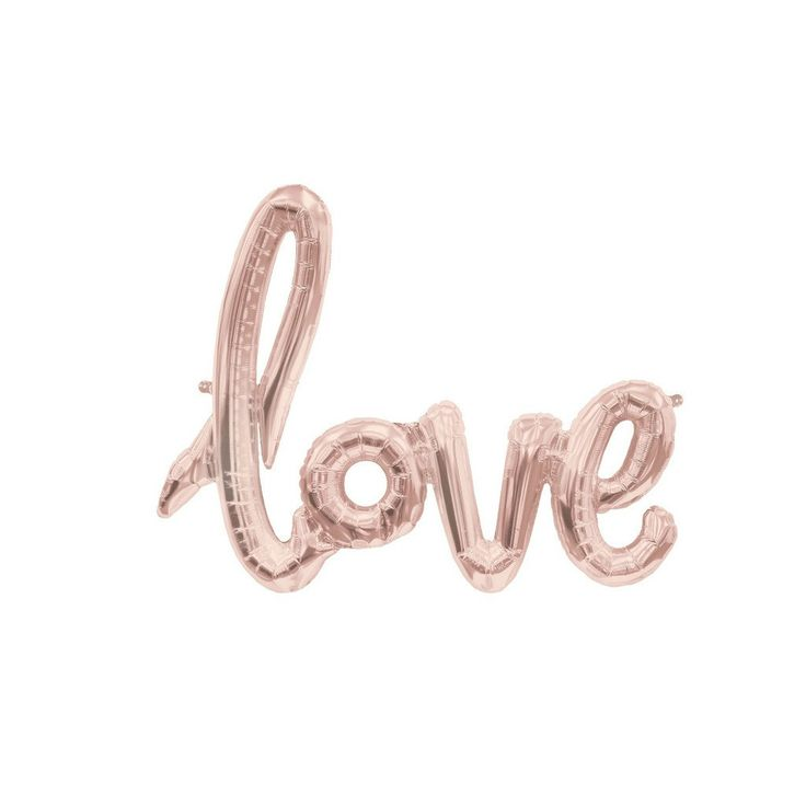 """Rose Pink Love Script BalloonYou will adore this sweetly feminine LOVE script balloon. A single balloon with the word """"love"""" in cursive. A beautiful and tasteful baby shower or bridal shower decoration that you and your guests are sure to LOVE! Ships free on TwigsandTwirls.com"""