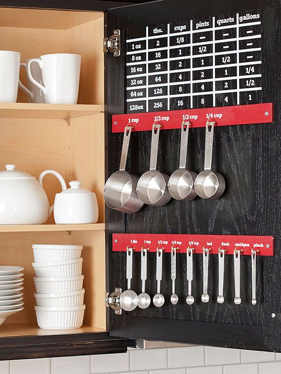 Small kitchens can seriously benefit from these easy organization solutions. We've found ideas for making the most out of your cabinets, collecting wine bottles, storing cooking utensils, and more.