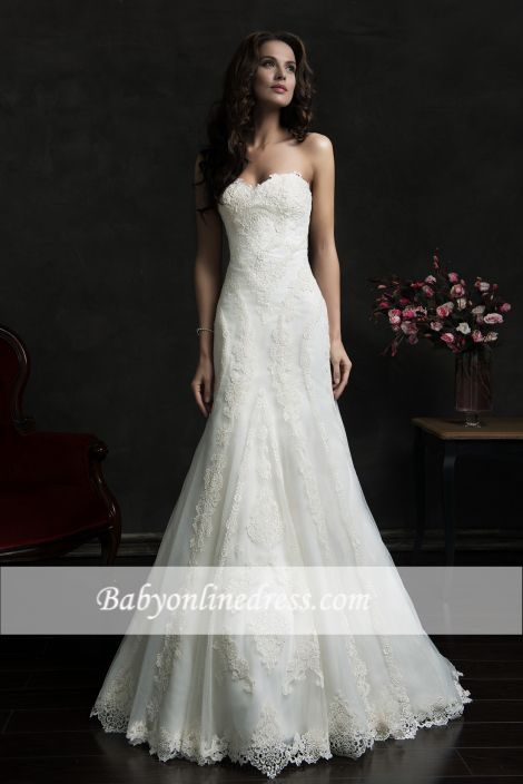 Elegant Lace Sweetheart Wedding Dresses Court Train Bridal Gowns with Buttons