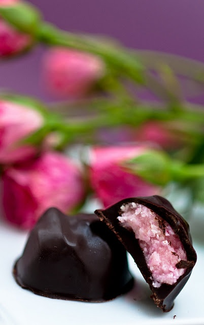 Rose Marzipan Chocolates from Dessert for Breakfast - look delish but I would try to use organic corn syrup if I make them.