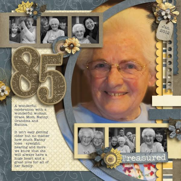 Treasured ~ Scrap a page about a milestone birthday! Add multi-generational photos for a real heritage treasure. This digi page was created with the 'Trashed, Tattered and Torn' kit from Connie's CT.