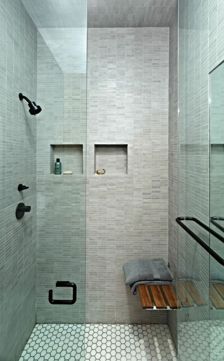 Modern Small Bathroom Shower With Square Niches And Mounted Teak Wood Shower Bench