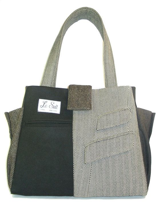 tote made from vintage men's suits.  Really like the mix.  Sleeve cuffs for side pockets.