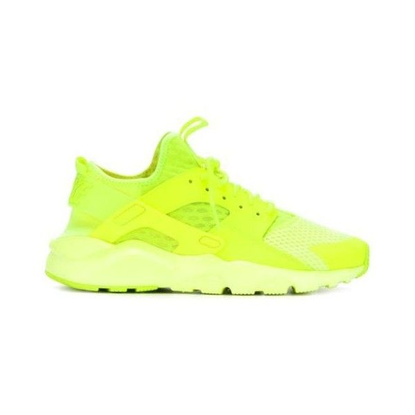 NIKE Huarache Ultra 'Breathe' Sneakers ❤ liked on Polyvore featuring shoes, sneakers, neon yellow sneakers, rubber sole shoes, laced up shoes, nike trainers and round toe shoes