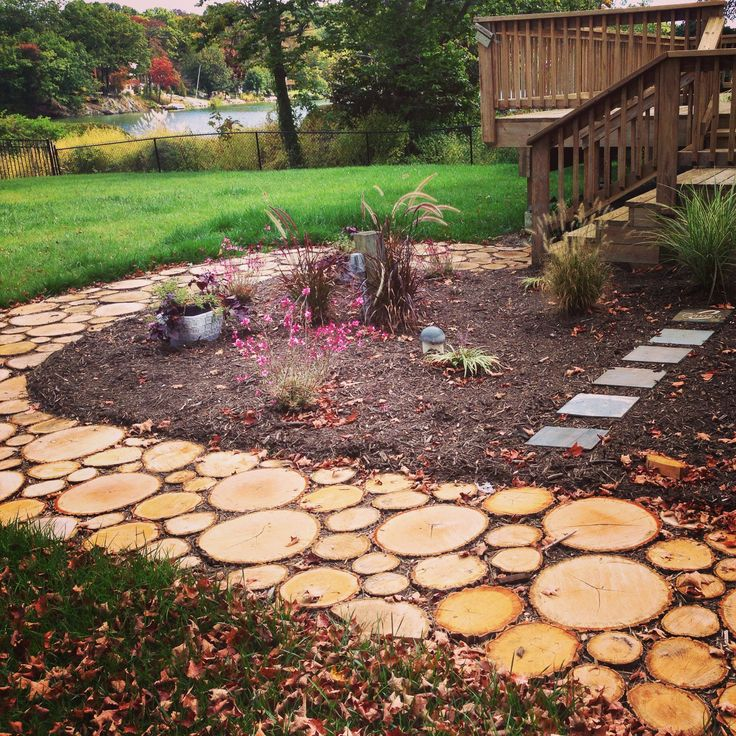 Garden Walkway Ideas pebble garden walkway design picture Love How The Sliced Wood Walkway Turned Out