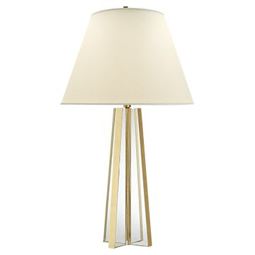 Lila table lamp in crystal and burnished silver leaf with natural percale shade