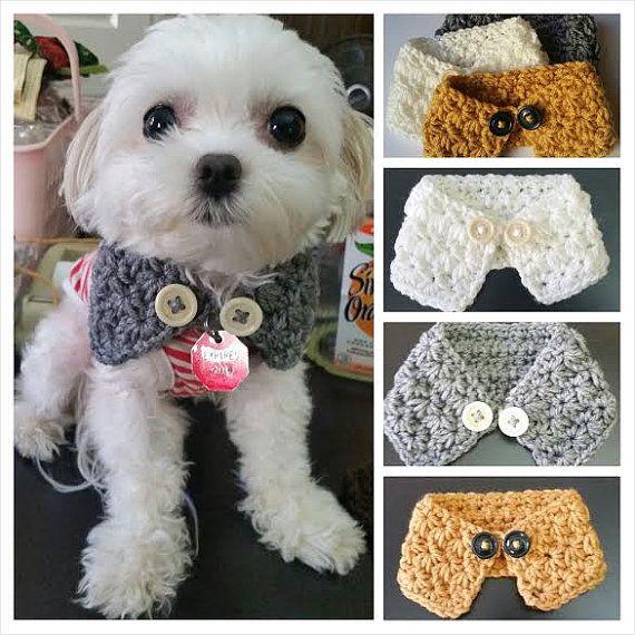 Ganchillo cachorro / perro elegir la bufanda de 7 colores, se adapta a mayoría de los perros XS, S o M