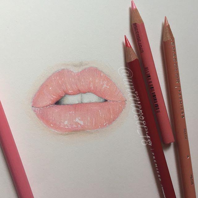 Glossy Draw Sketch Prism Colorpencil Prismacolor Lips