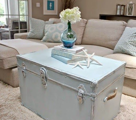 Beachy blue painted vintage trunk as a coffee table: http://www.completely-coastal.com/2015/03/travel-decor-coastal-suitcase-trunk-makeovers.html