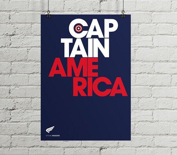 Captain America poster, Avengers print, Print, Superhero poster, Marvel, Wall Art, Heroes Typography, Artwork, Comic poster, Gift