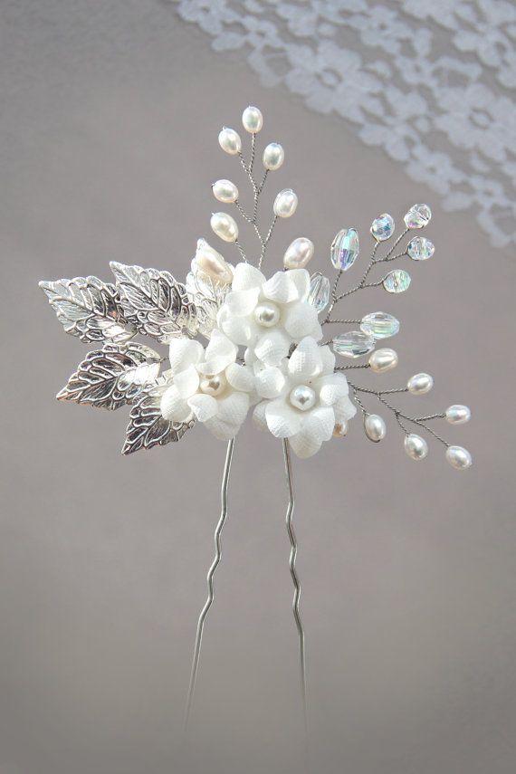 silver leaf freshwater pearl and rhinestone bridal hair pin, white flower hair…