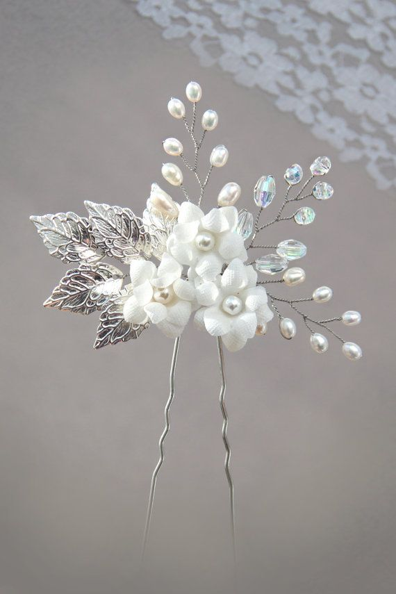 silver leaf freshwater pearl and rhinestone bridal hair pin, white flower hair…