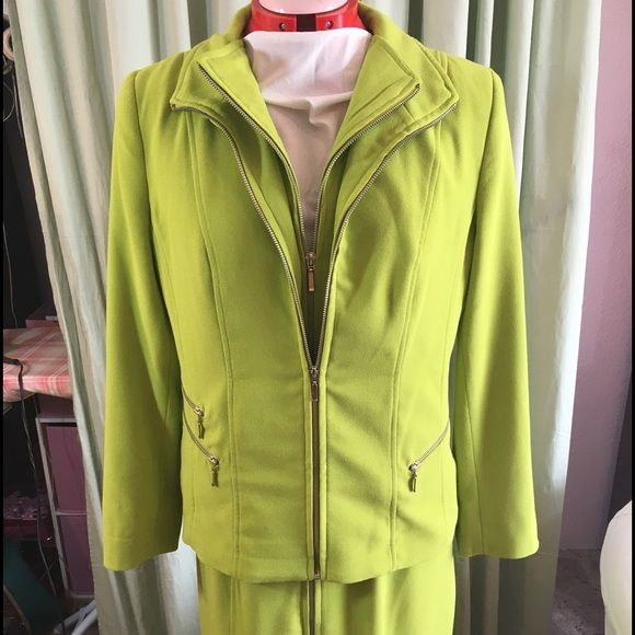 Lime green dress with jacket Sleeveless sheath dress zips all the way up the front (from both directions), with a great fully lined jacket.  Both pieces look just as great separately as together. Midnight Velvet Dresses