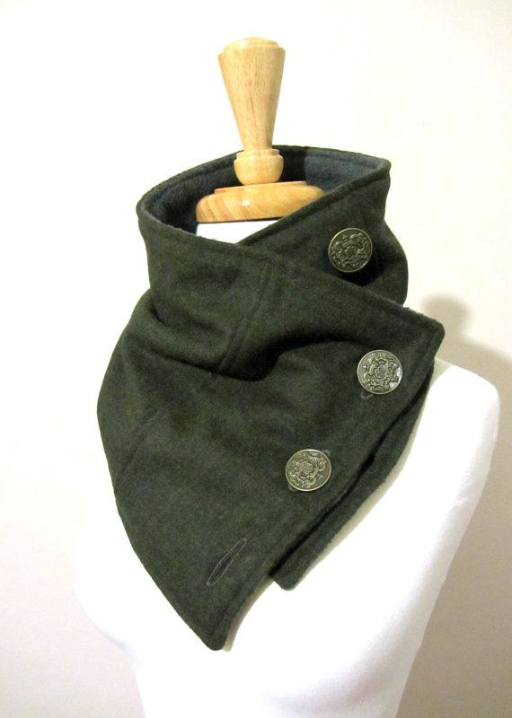 Neck Warmer Scarf in Olive Green Upcycled Wool with by FashionCogs