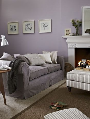 LOVE LOVE LOVE!!!!Cool Lilac & Grey Living Room