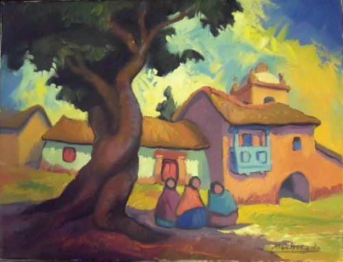 """Las Tres Compadres"" by Peruvian painter Juan de la Cruz Machicado available at Columbine Gallery on Amazon Fine Art"
