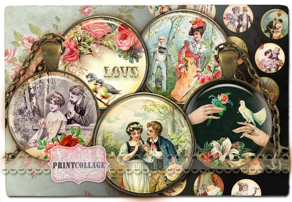 Digital Collage Sheet  Love  Cabochon images by PrintCollage