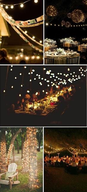 Iluminação no casamento (luzes de natal)...