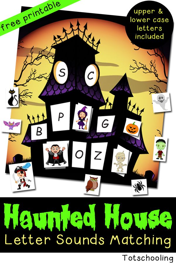 Haunted House Letter Sounds Matching | Totschooling - Toddler and Preschool Educational Printable Activities