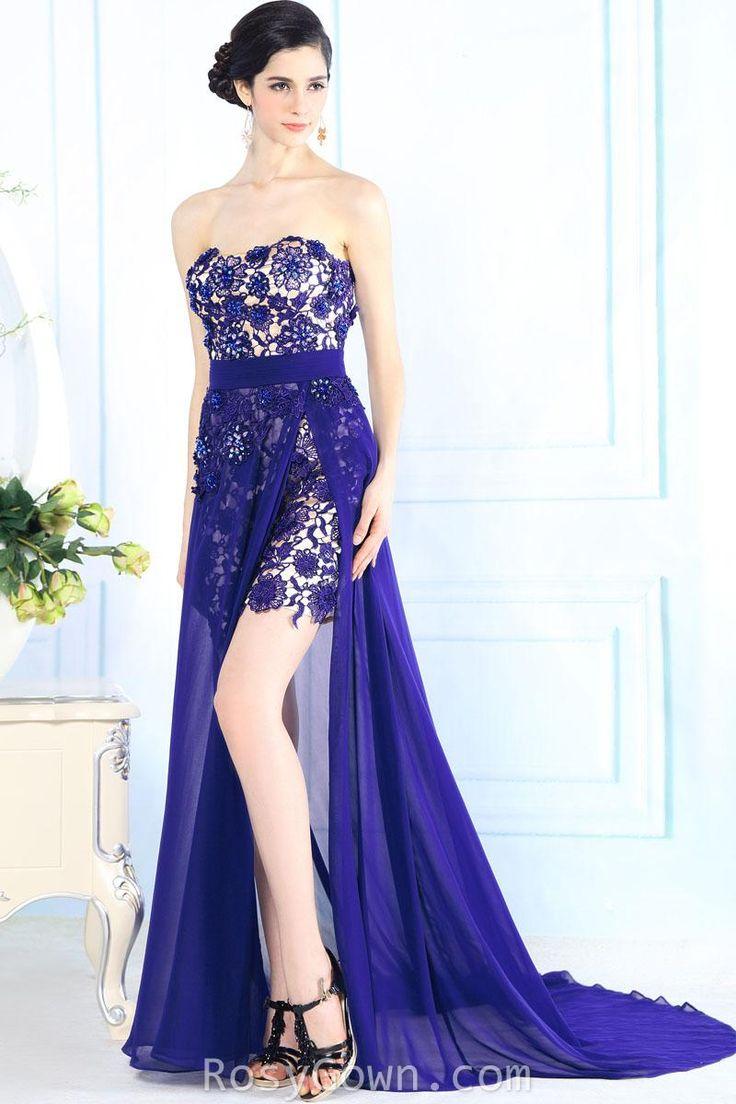 #strapless floral #blue sexy high slit semi-formal #dress
