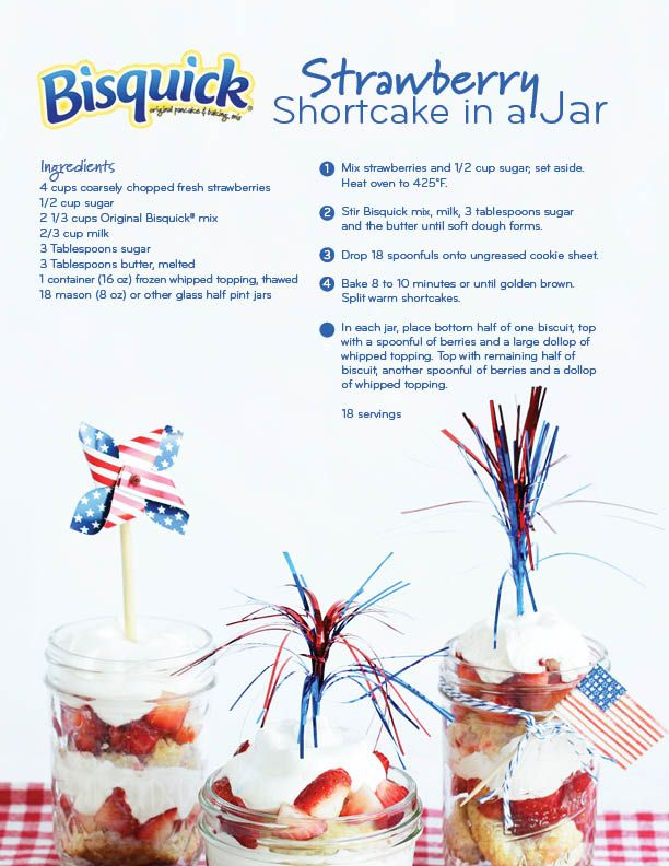 Strawberry Shortcake in a Jar! Perfect for the 4th of July.