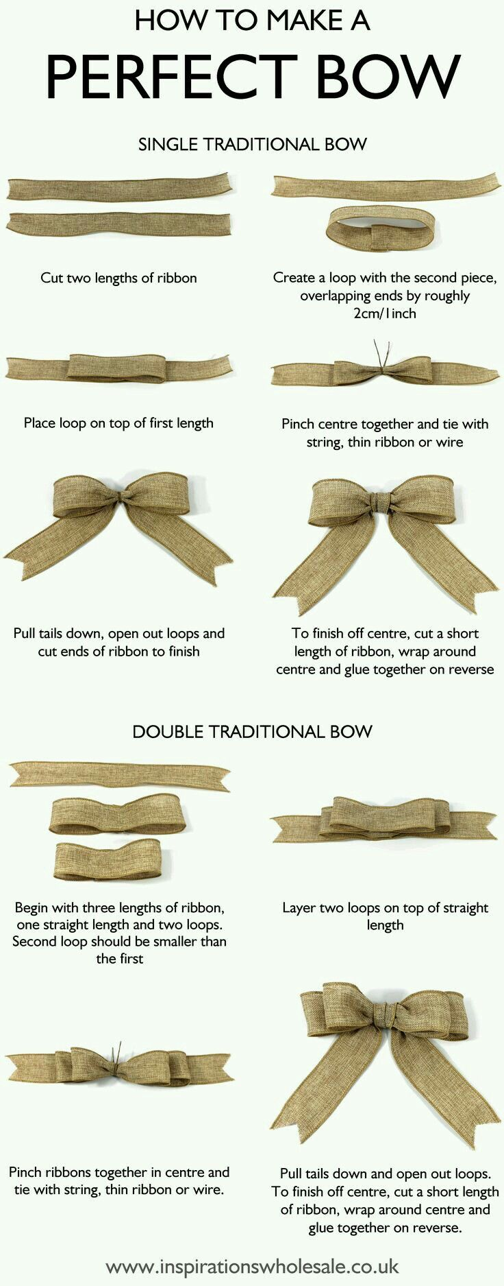 How to make a Perfect Bow for gift wrapping, home décor and crafts ideas – both single traditional bow and the double traditional bow.