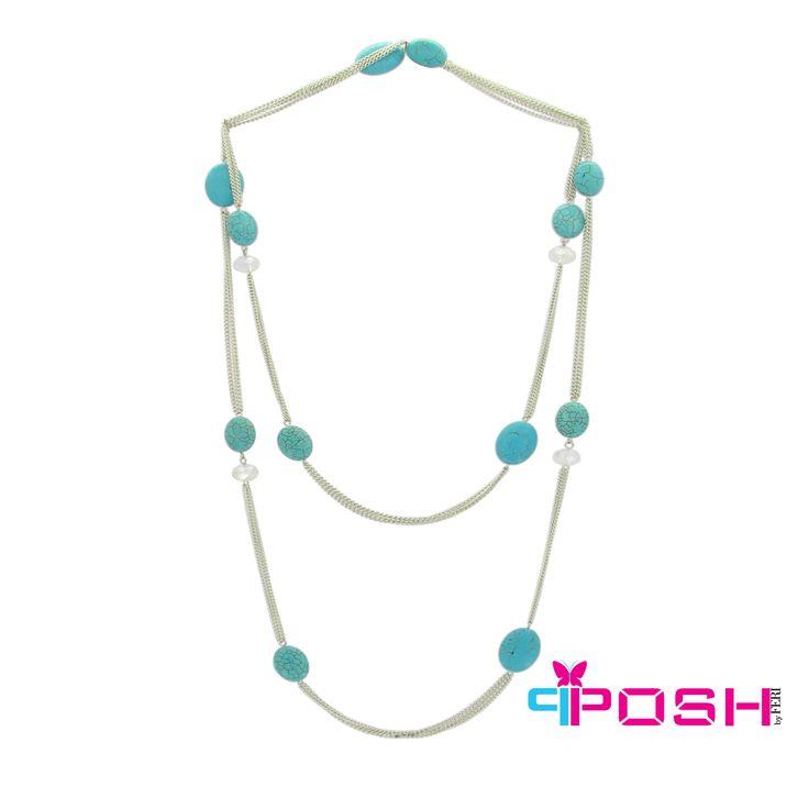 Demi - Turquoise colour beads, double loop Necklace - silver colour chain - Dimensions: 150 cm + 6cm extending chain $55 #necklace #jewelry