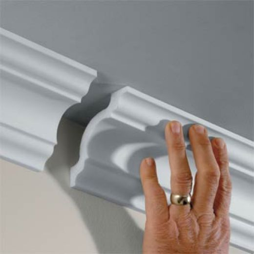 Would love to have some kind of molding in the bathroom.  image:improvementscatalog.com