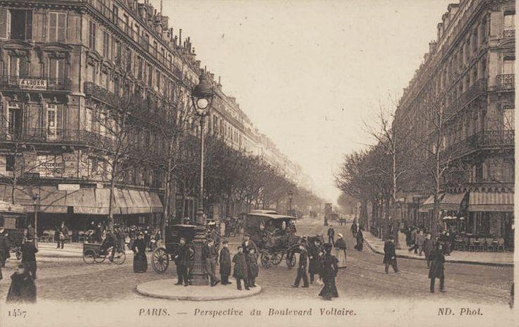 Autre perspective du boulevard Voltaire vers 1900.
