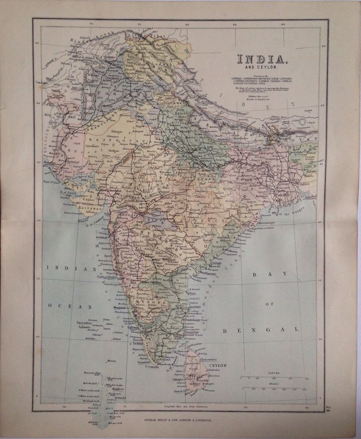 1887 INDIA u0026 CEYLON map antique original