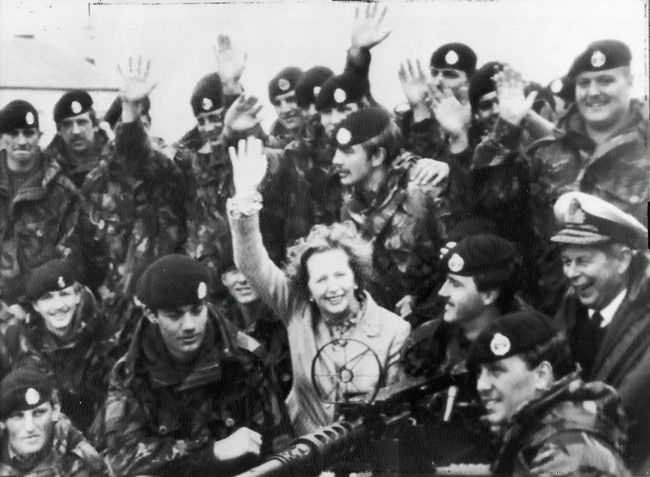 Margret Thatcher with British troops after the surrender of Argentina in the Falklands War.