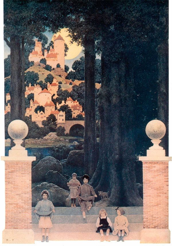 The Sugar-Plum Tree by Maxfield Parrish.  The Sugar-Plum Tree is an illustration to the poem of the same name by Eugene Field, published in 1904 in Poems of Childhood: