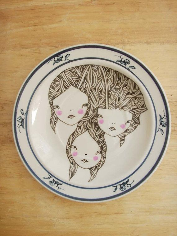 hand painted plate by prettylittlethieves