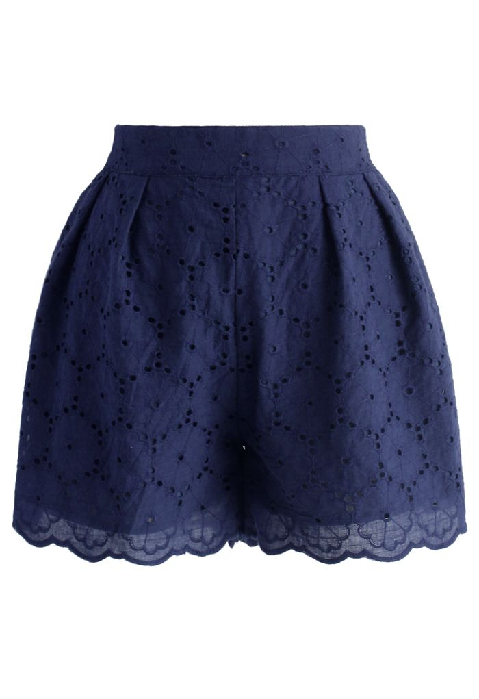Petite Cutout Flowers Shorts in Navy - New Arrivals - Retro, Indie and Unique Fashion