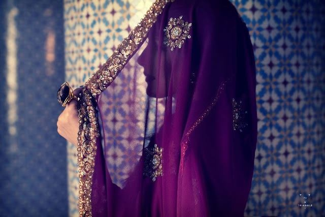 Dulhan Bride Indian Pakistani Desi Wedding veil purple with embroidery detail
