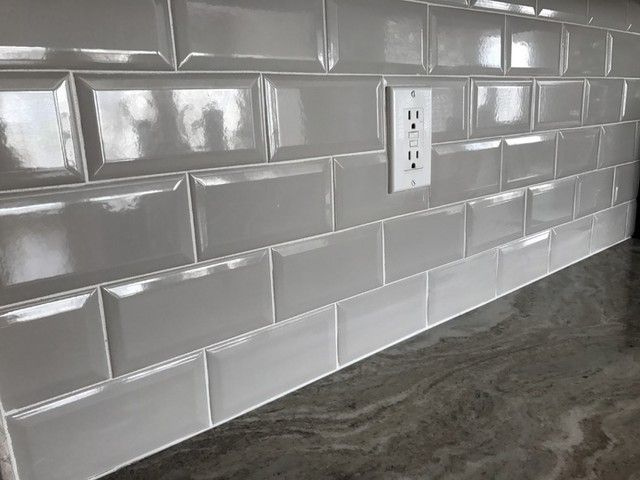 Simple Clean Grey Backsplash Tile For The Home Kitchen Imperial Grey Bevel Gloss Ceramic Wall