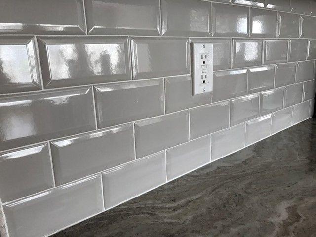Simple, clean grey backsplash tile for the home kitchen ...