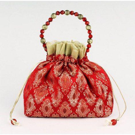 Red- Gold Potli Bag-Bags-Udaan