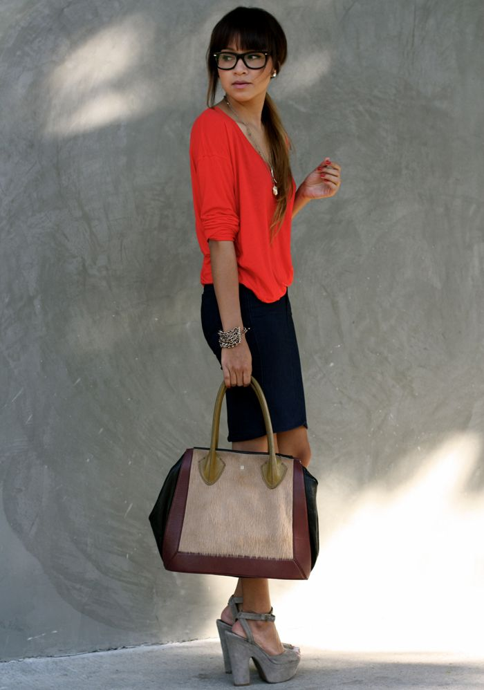 oversized top with pencil skirt