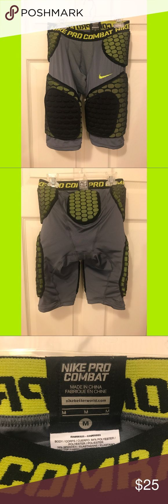 Nike Pro Combat Dri-Fit padded shorts Designed to be worn under football pants. Worn only once or twice. The colors are gray, lime green, and black. Nike Shorts Athletic