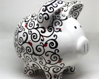 Swirly Piggy Bank hand painted by SwirlyBugz on Etsy